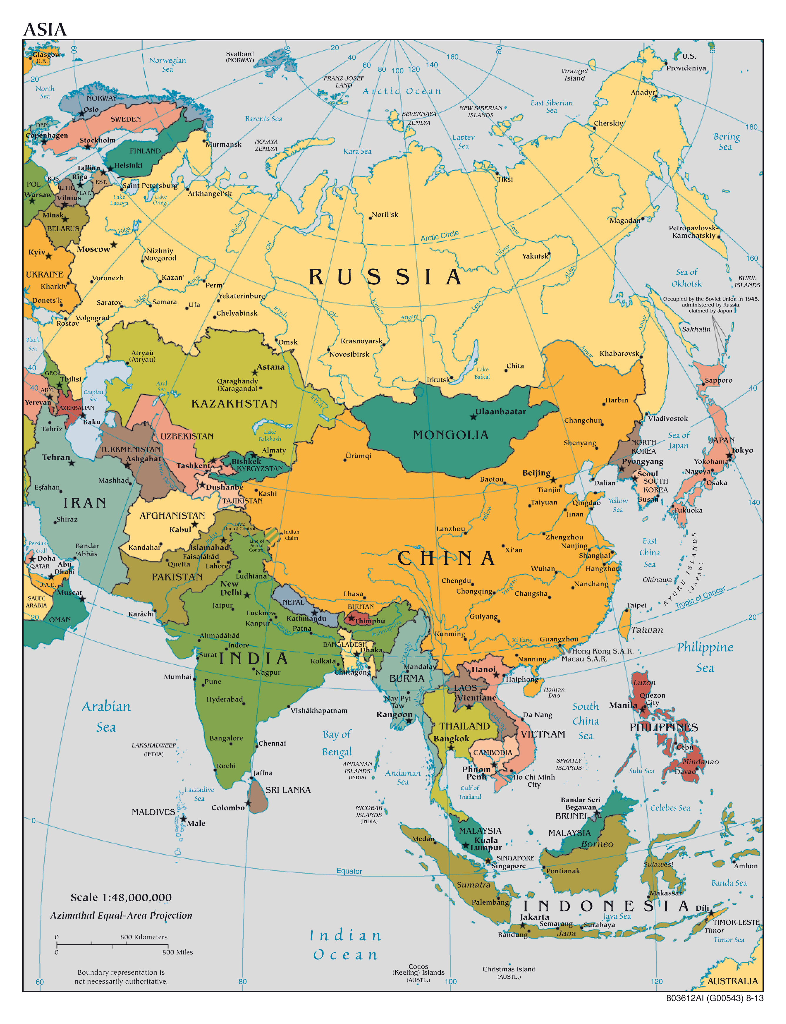large scale political map of asia with major cities and capitals 2013