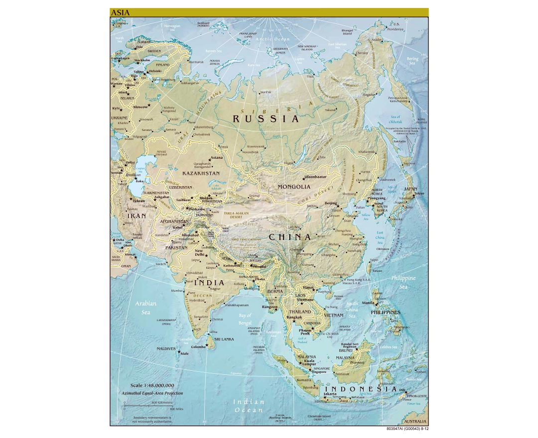 Large scale political map of Asia with relief and capitals - 2012