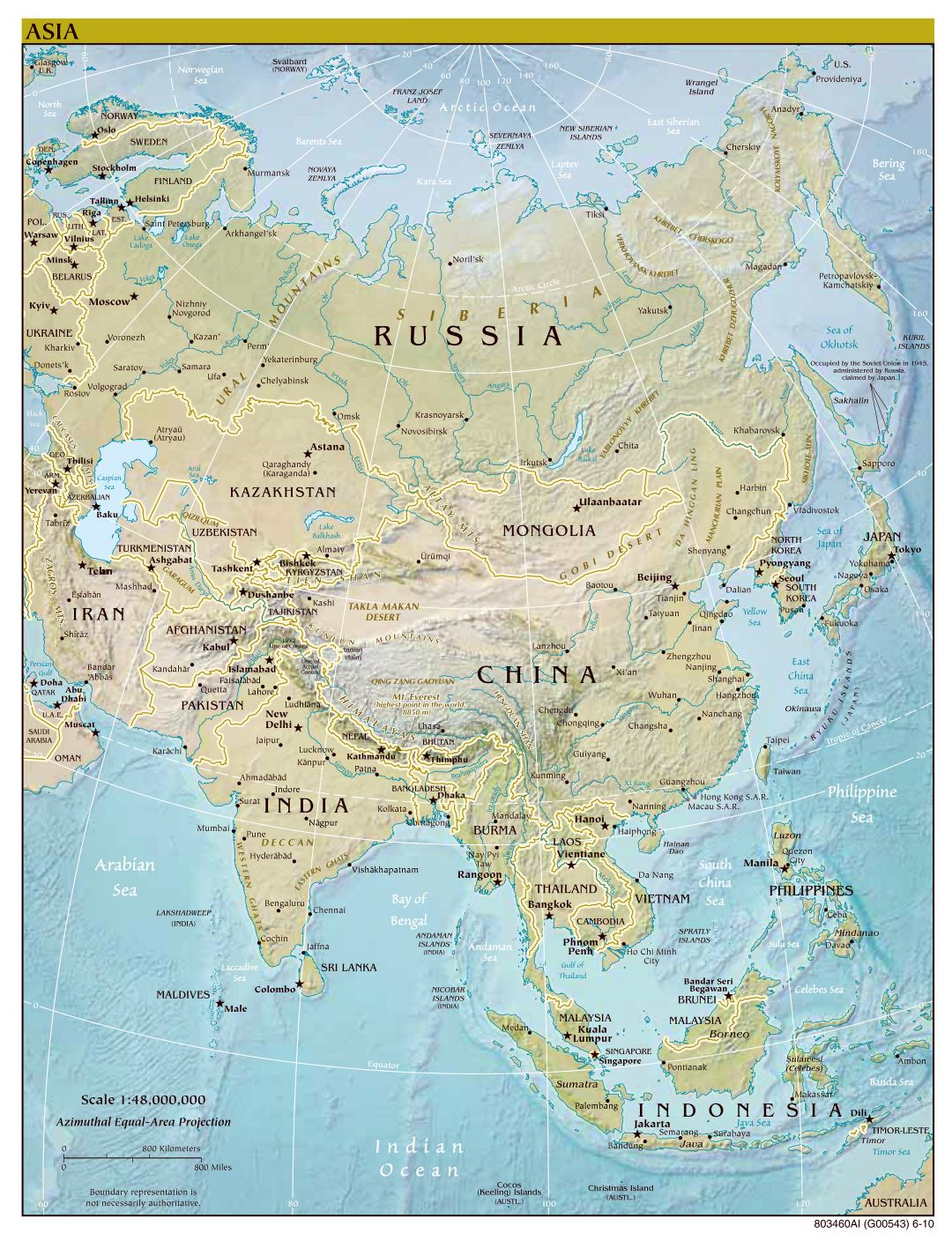Large scale political map of Asia with relief, major cities and capitals - 2010