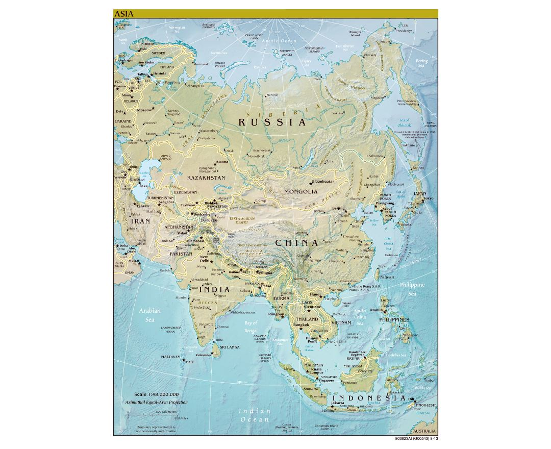 large scale political map of asia with relief major cities and capitals 2013