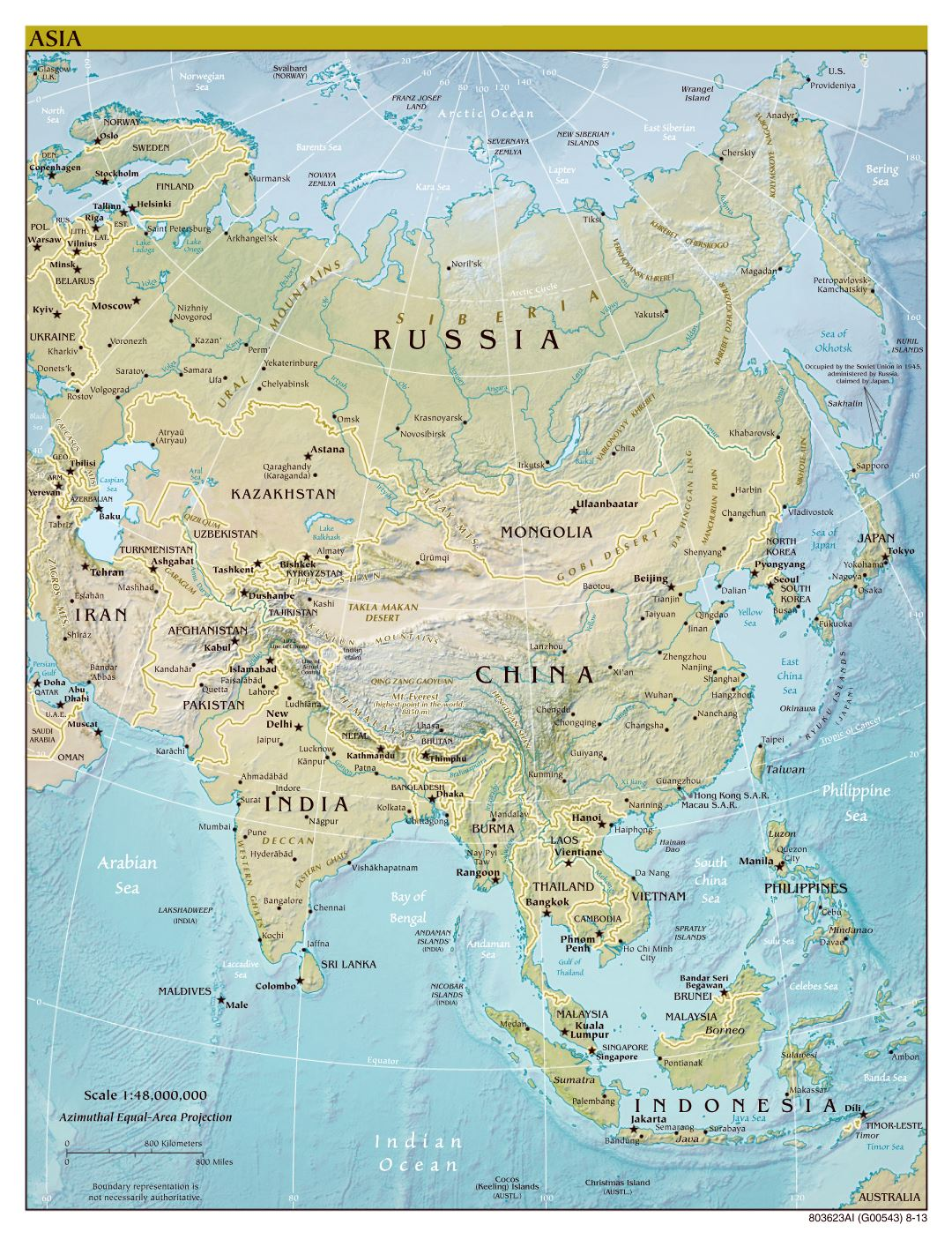 Large scale political map of Asia with relief, major cities and capitals - 2013
