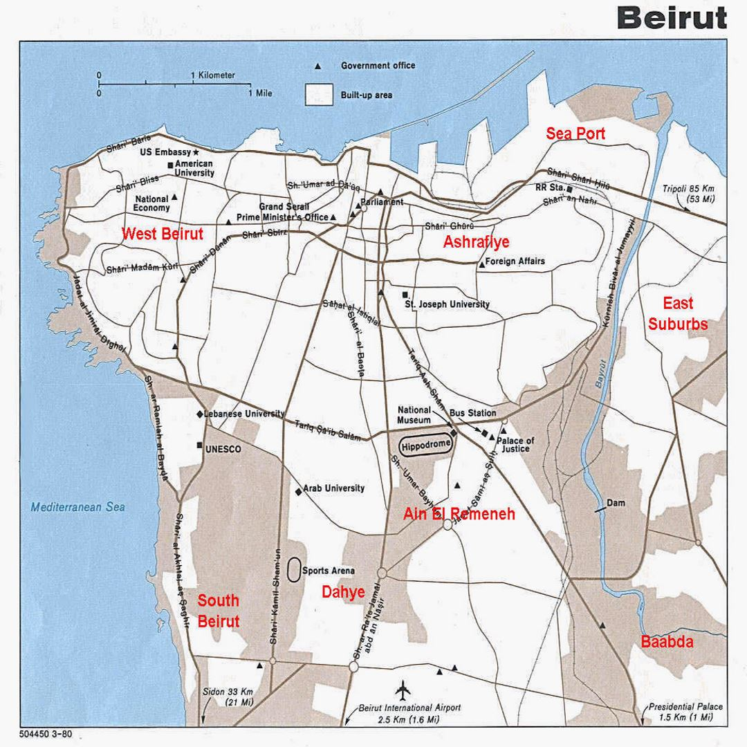 Detailed map of Beirut city - 1990