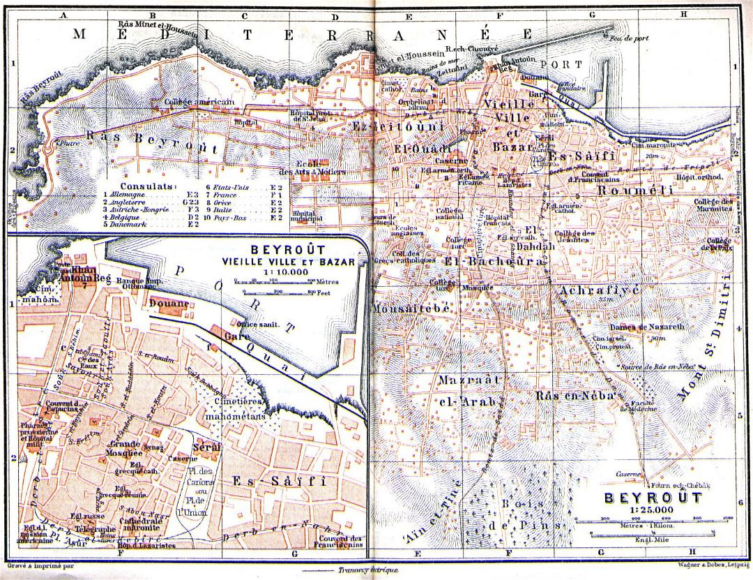 Detailed old map of Beirut city - 1912