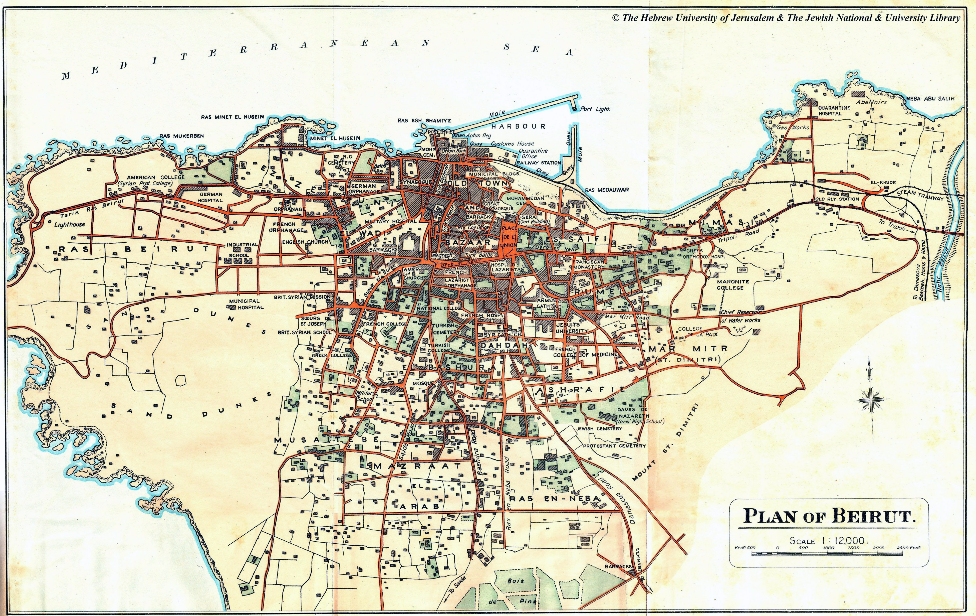 Large detailed old map of Beirut city with buildings  1923