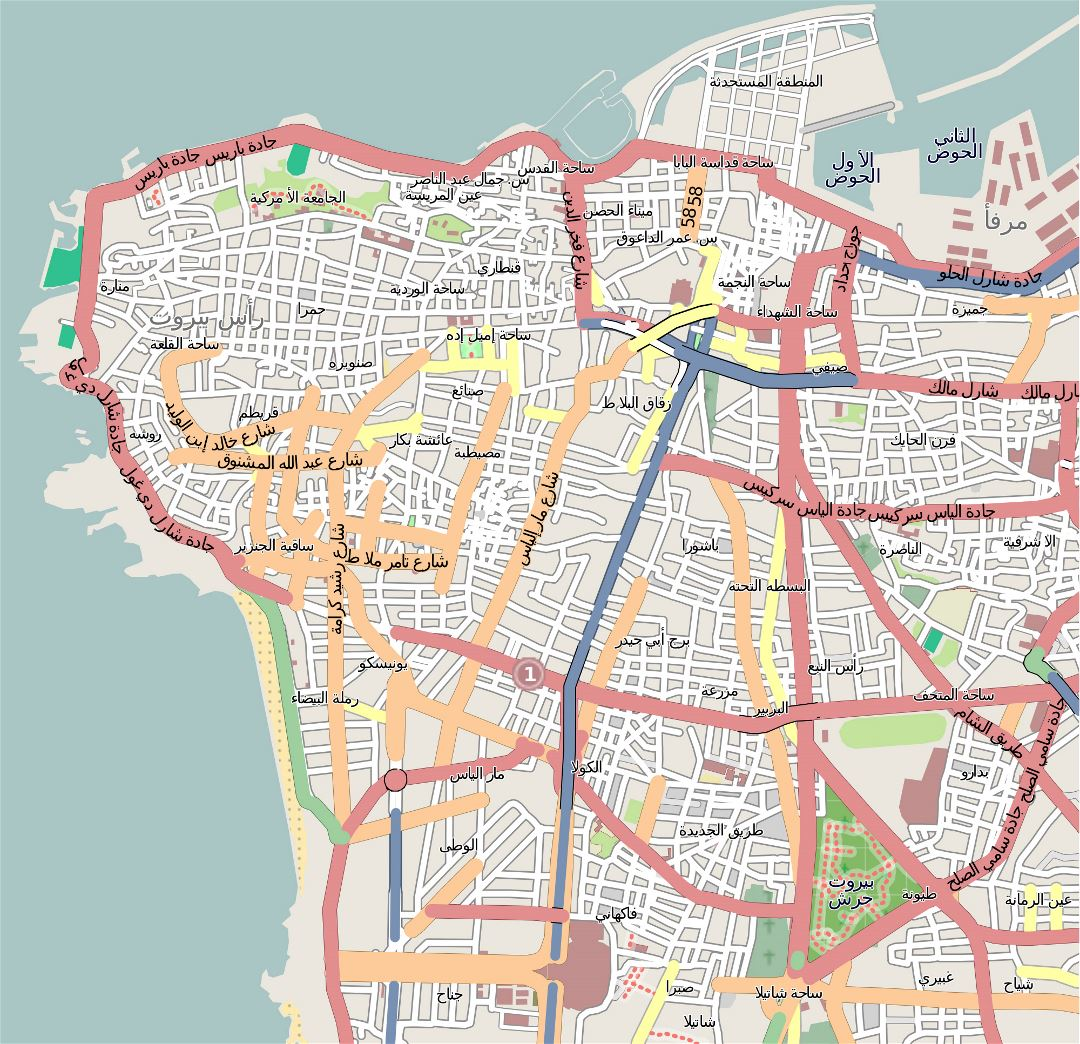Large detailed road map of central part of Beirut city