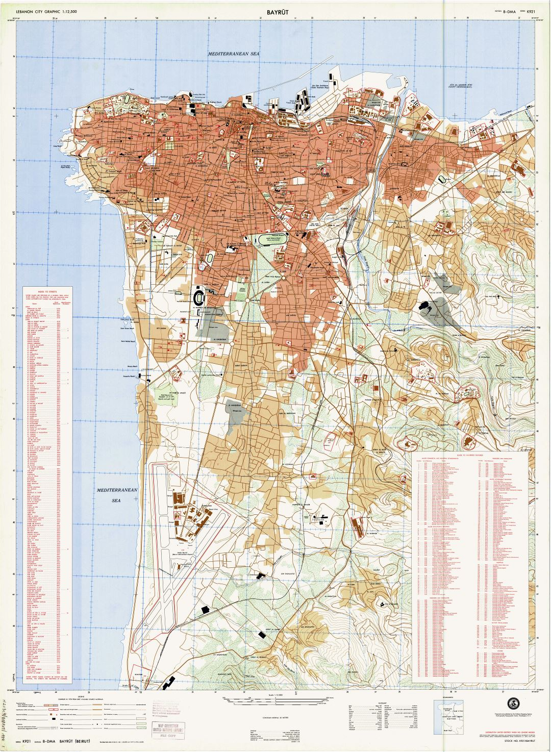 Large scale detailed road map of Beirut city with street names - 1978