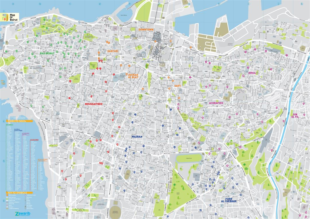 Large scale road map of Beirut city with street names