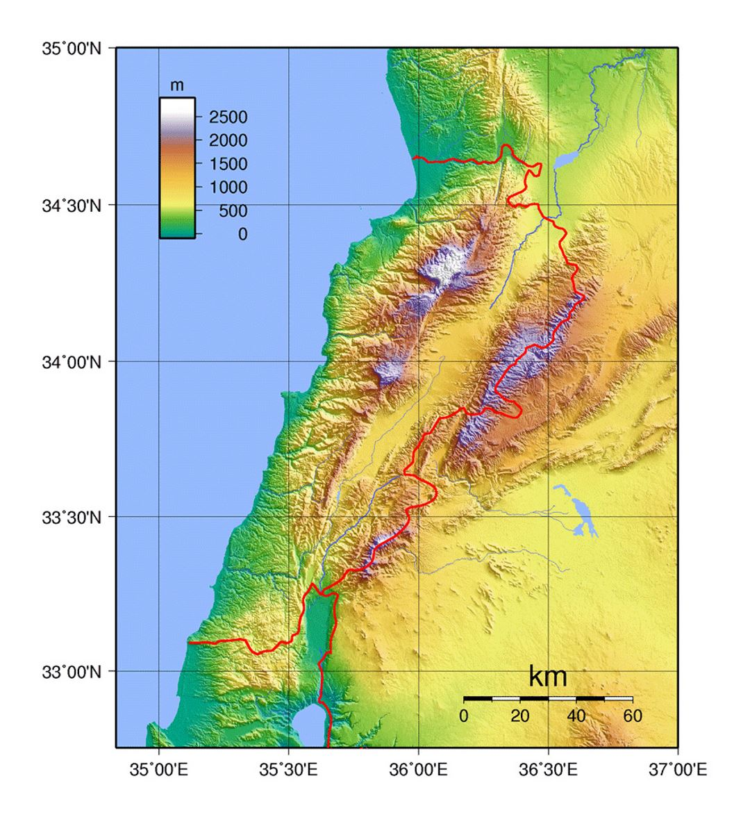 Detailed physical map of Lebanon Lebanon Asia Mapsland Maps