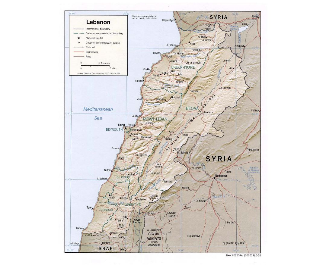 Detailed political and administrative map of Lebanon with relief, roads, railroads and major cities - 2002