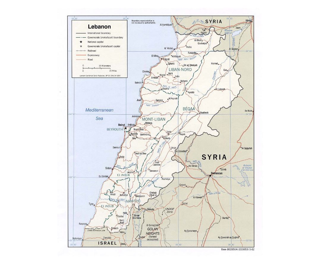 Detailed political and administrative map of Lebanon with roads, railroads and major cities - 2002
