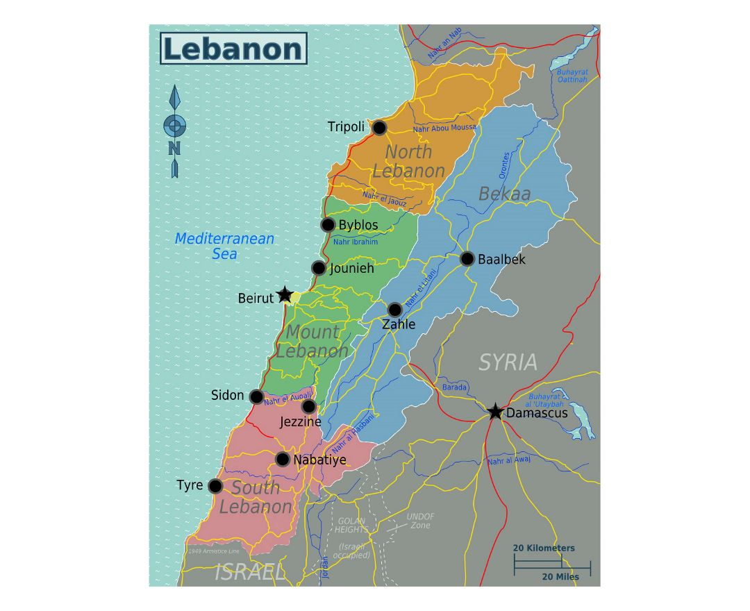 Detailed regions map of Lebanon