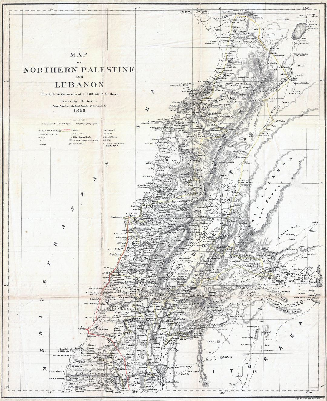 Large detailed old map of Northern Palestine and Lebanon - 1856