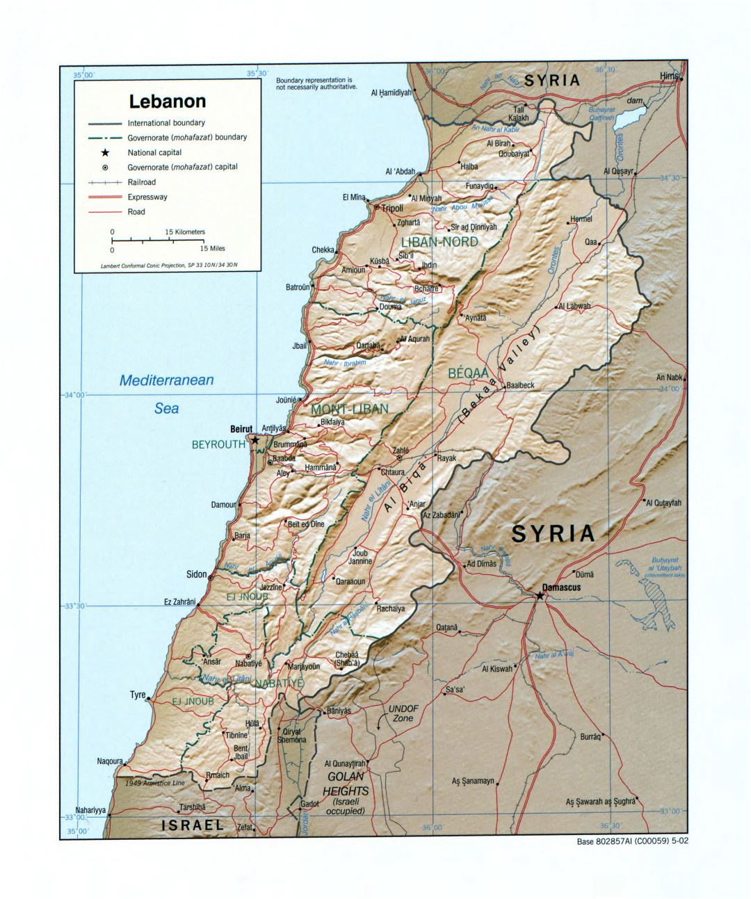 Large detailed political and administrative map of Lebanon with relief, roads, railroads and major cities - 2002
