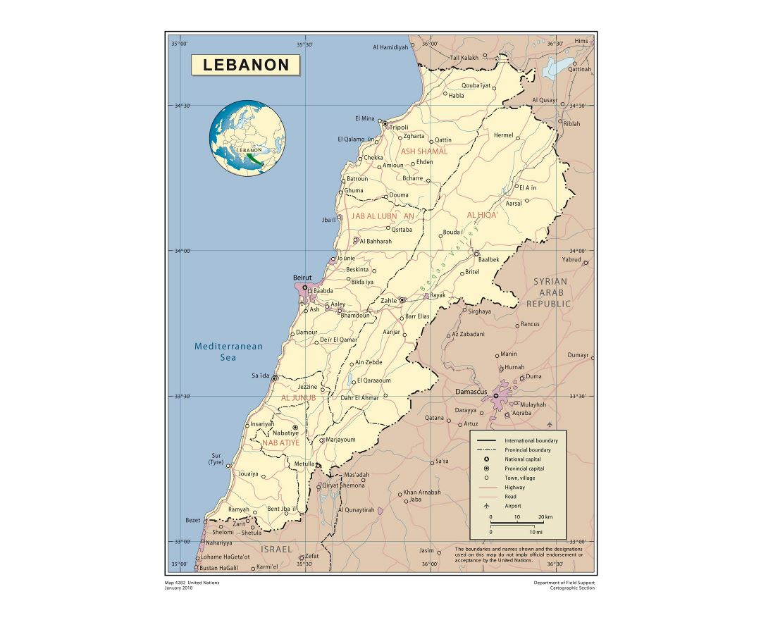Large detailed political and administrative map of Lebanon with roads, cities and airports