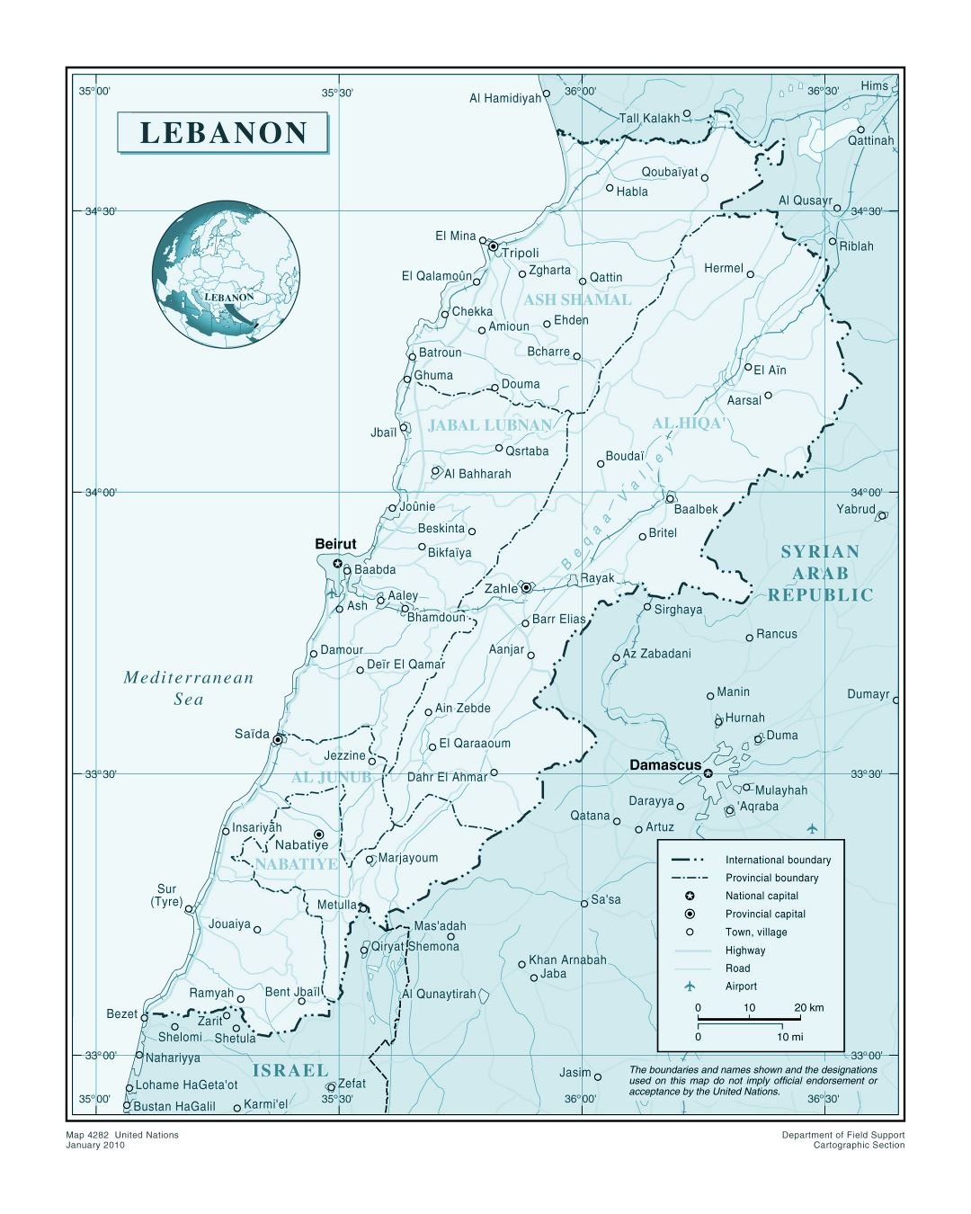 Large detailed political and administrative map of Lebanon with roads, major cities and airports