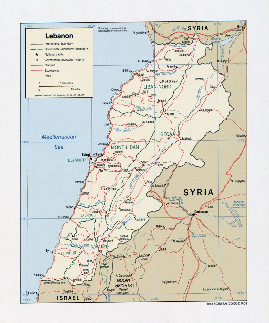 Large detailed political and administrative map of Lebanon with roads, railroads and major cities - 2002