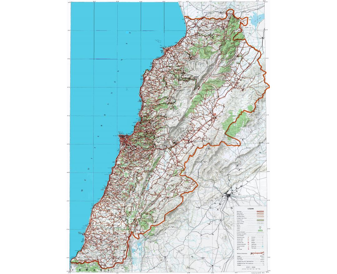 Large detailed topographical map of Lebanon with other marks