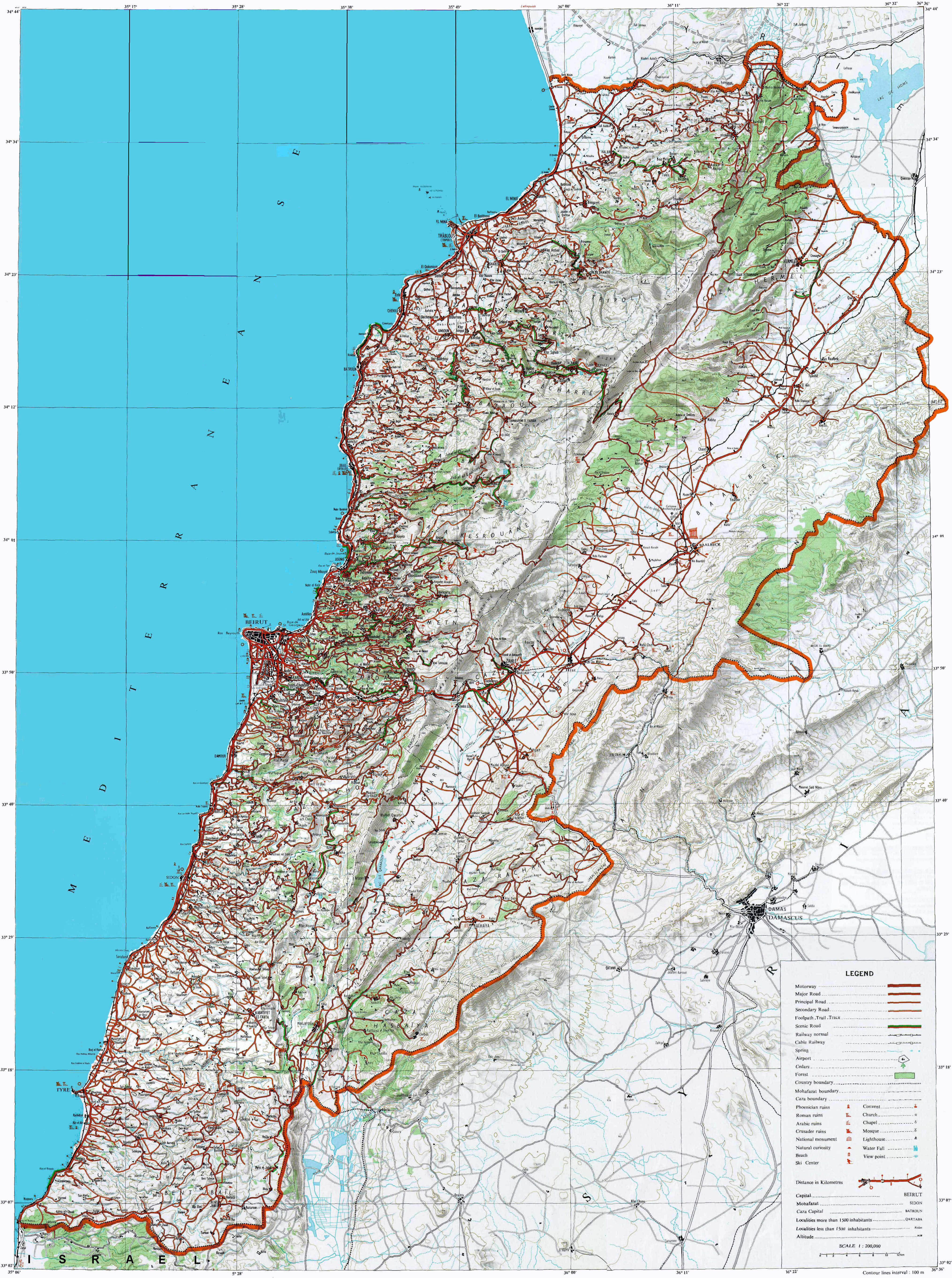 Detailed Topographical Map Of Lebanon With Other Marks