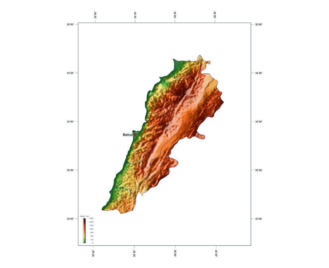 Large elevation map of Lebanon