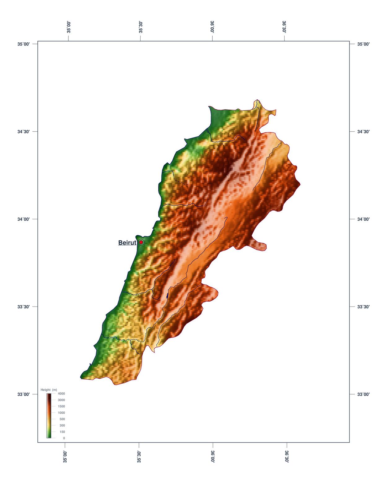 Elevation Map Of Lebanon Lebanon Asia