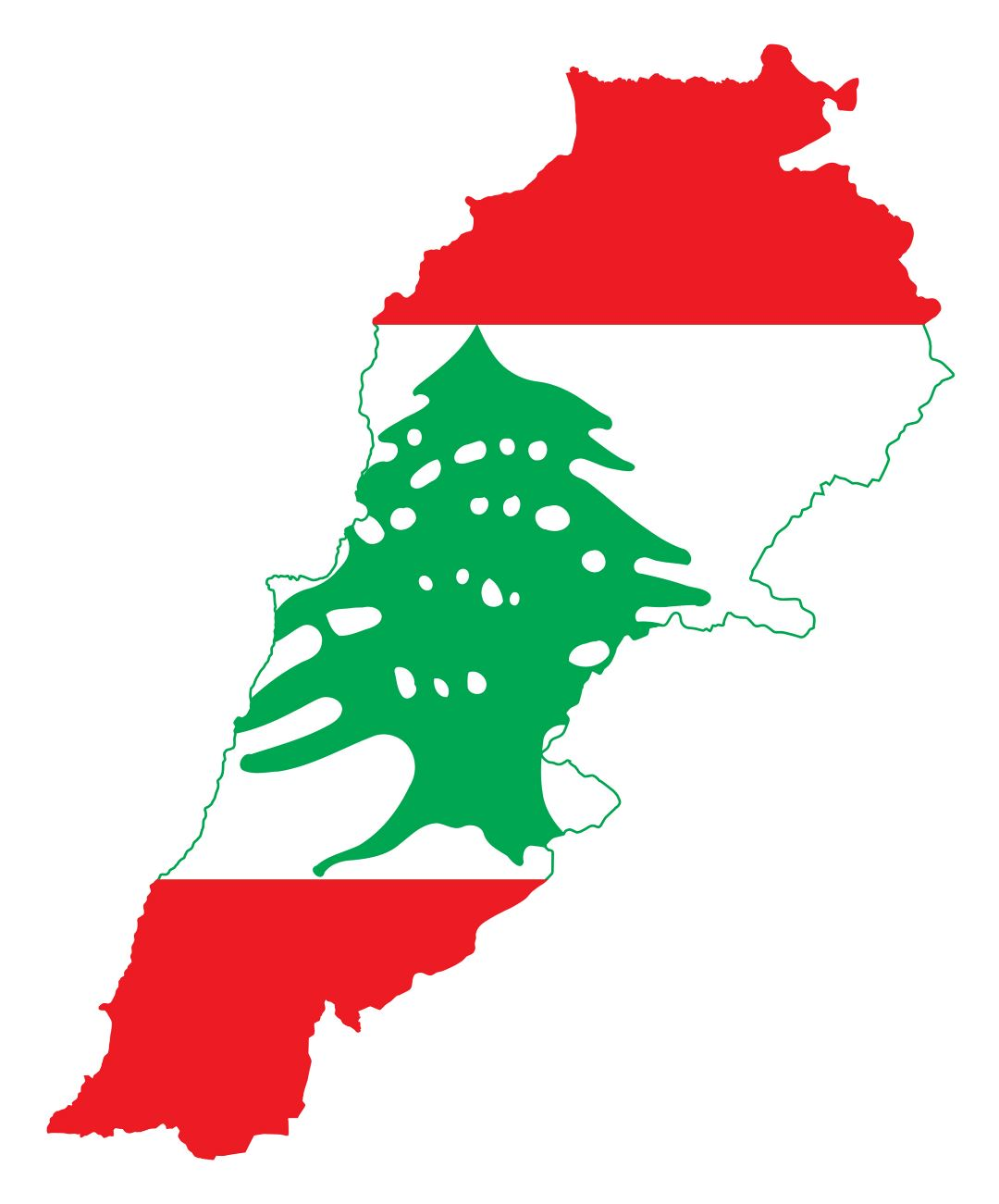 Large flag map of Lebanon