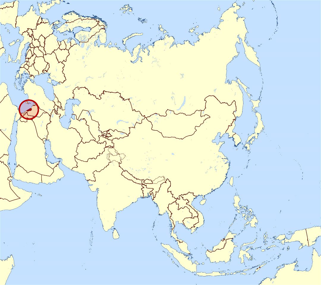 Large location map of Lebanon in Asia