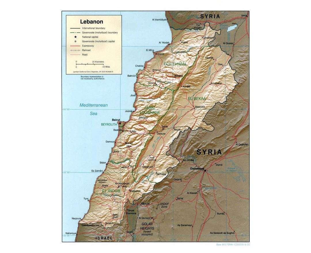 Large political and administrative map of Lebanon with relief, roads, railroads and major cities - 2000