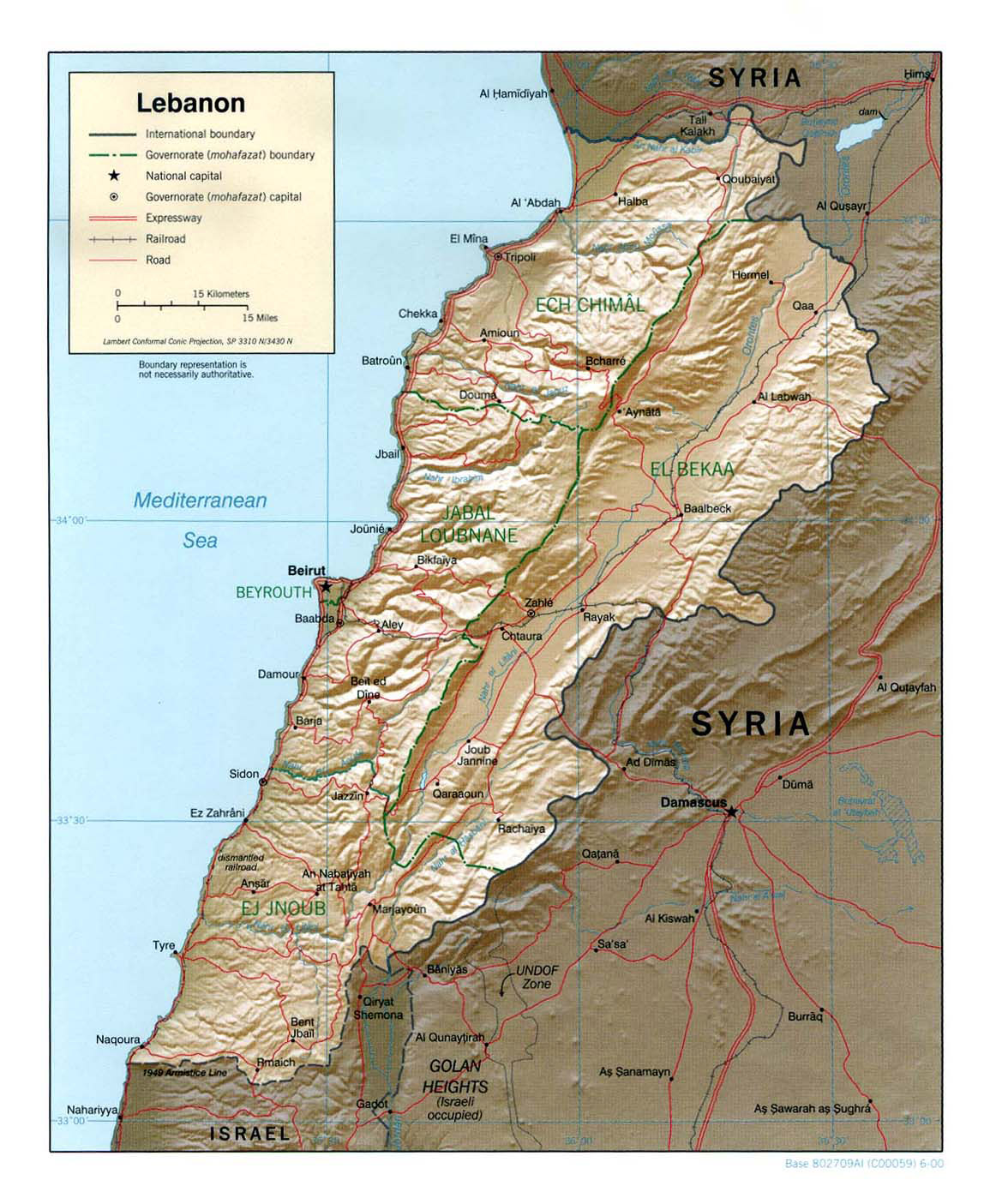 Large political and administrative map of Lebanon with relief roads