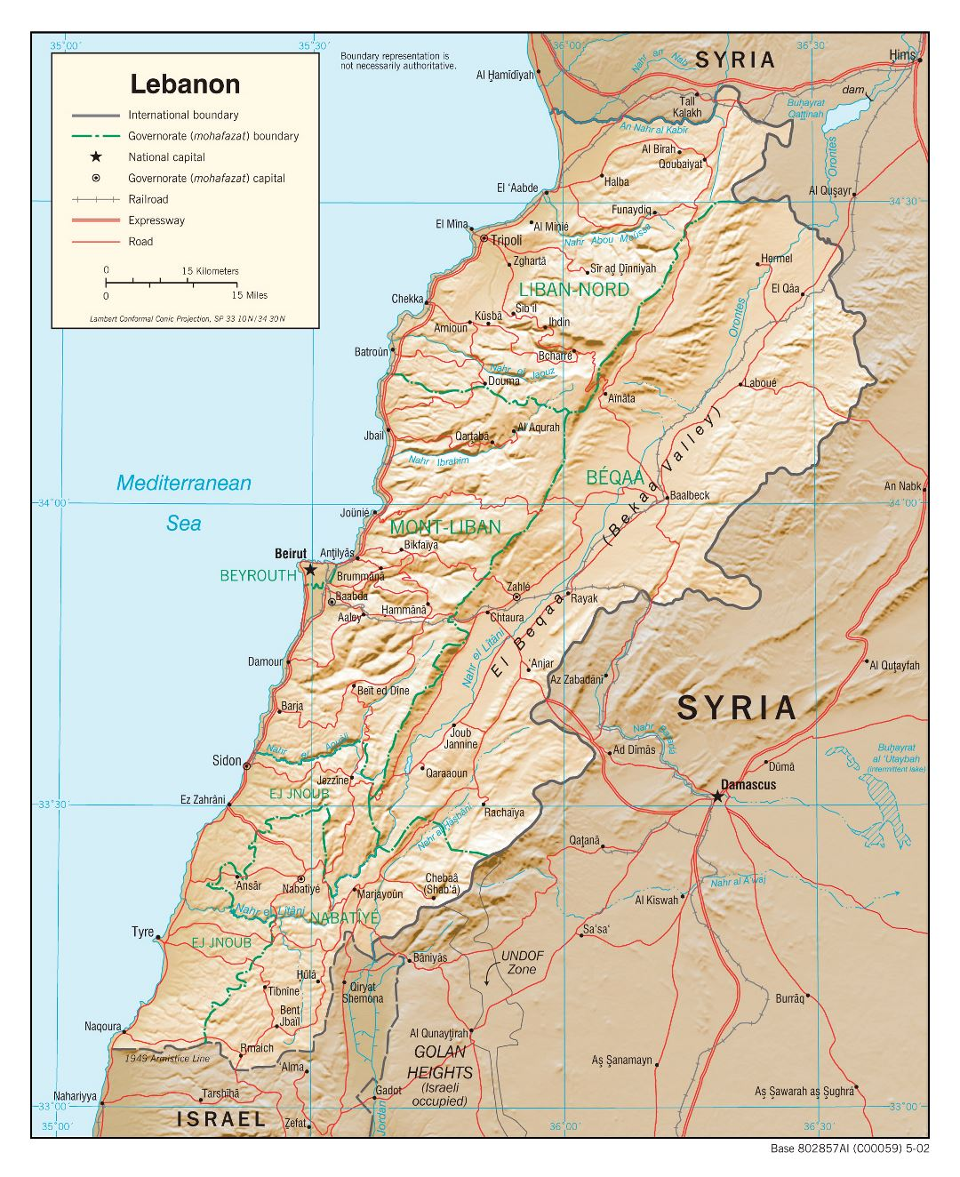 Large political and administrative map of Lebanon with relief, roads, railroads and major cities - 2002