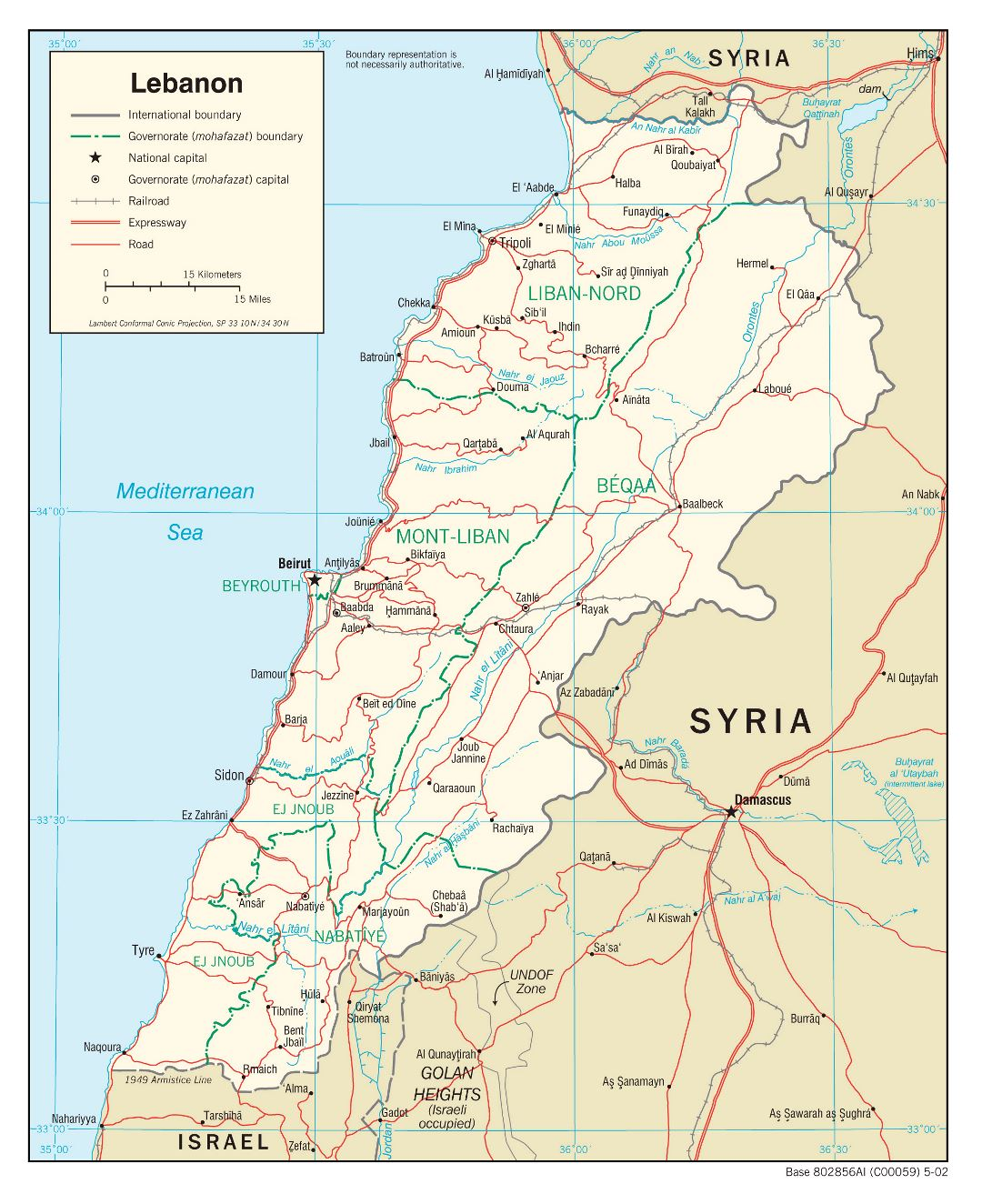Large political and administrative map of Lebanon with roads, railroads and major cities - 2002