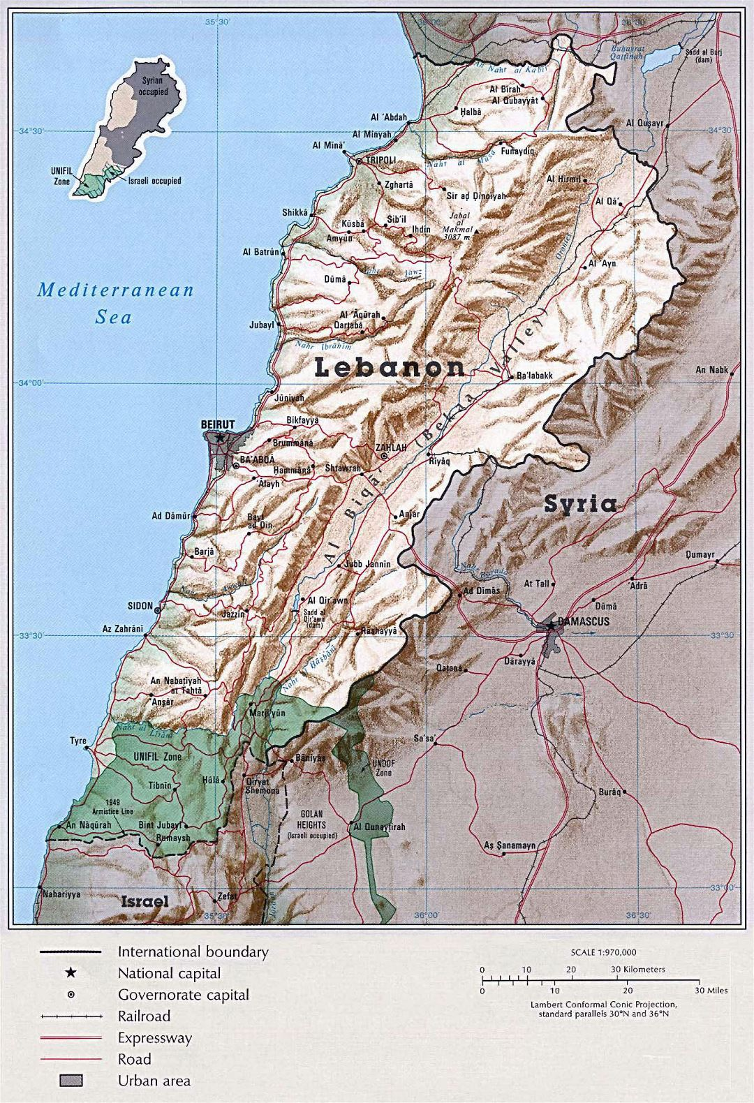 Large political map of Lebanon with relief, roads, railroads and cities - 1993