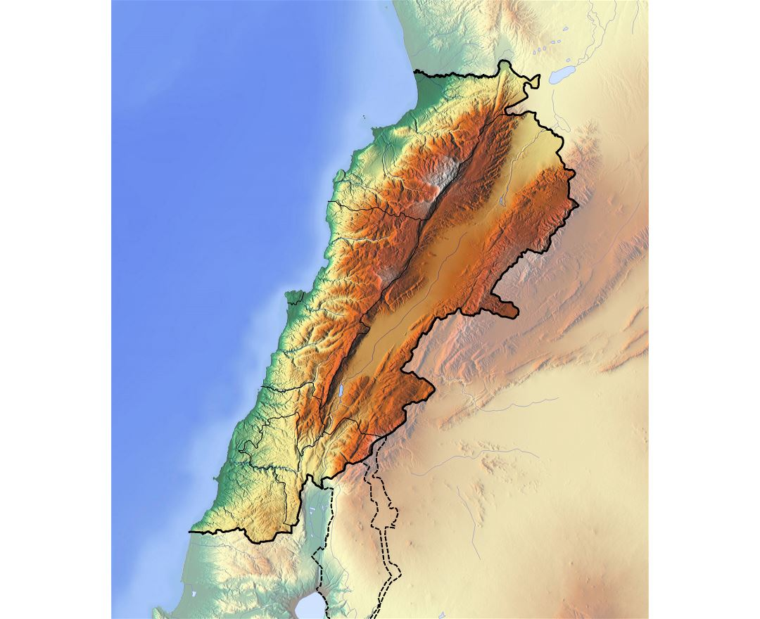 Large relief map of Lebanon