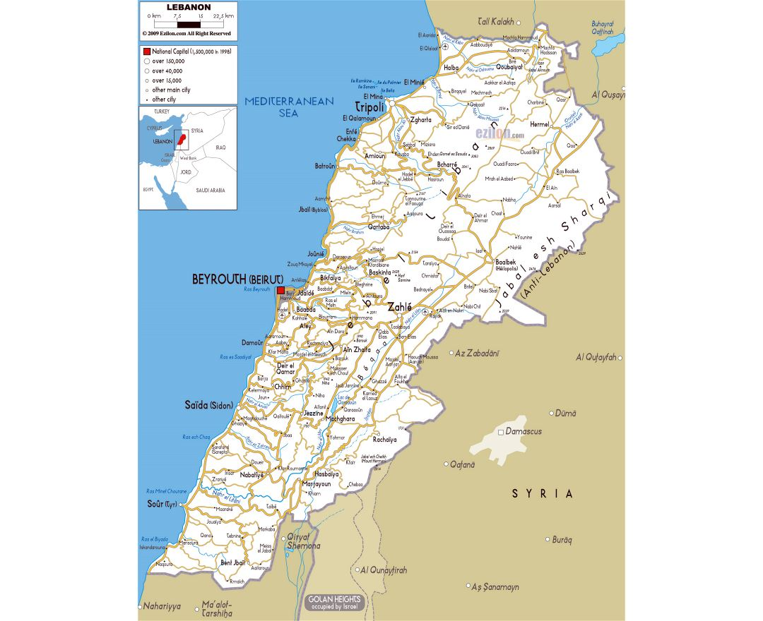 Large road map of Lebanon with cities and airports