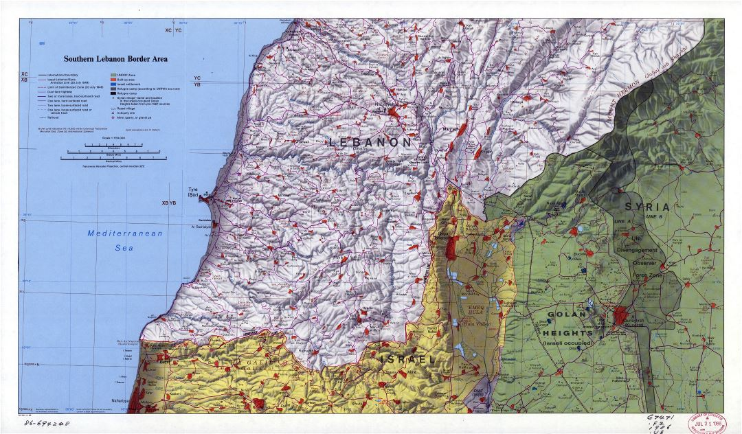 Large scale map of Southern Lebanon Border Area with relief and other marks - 1986