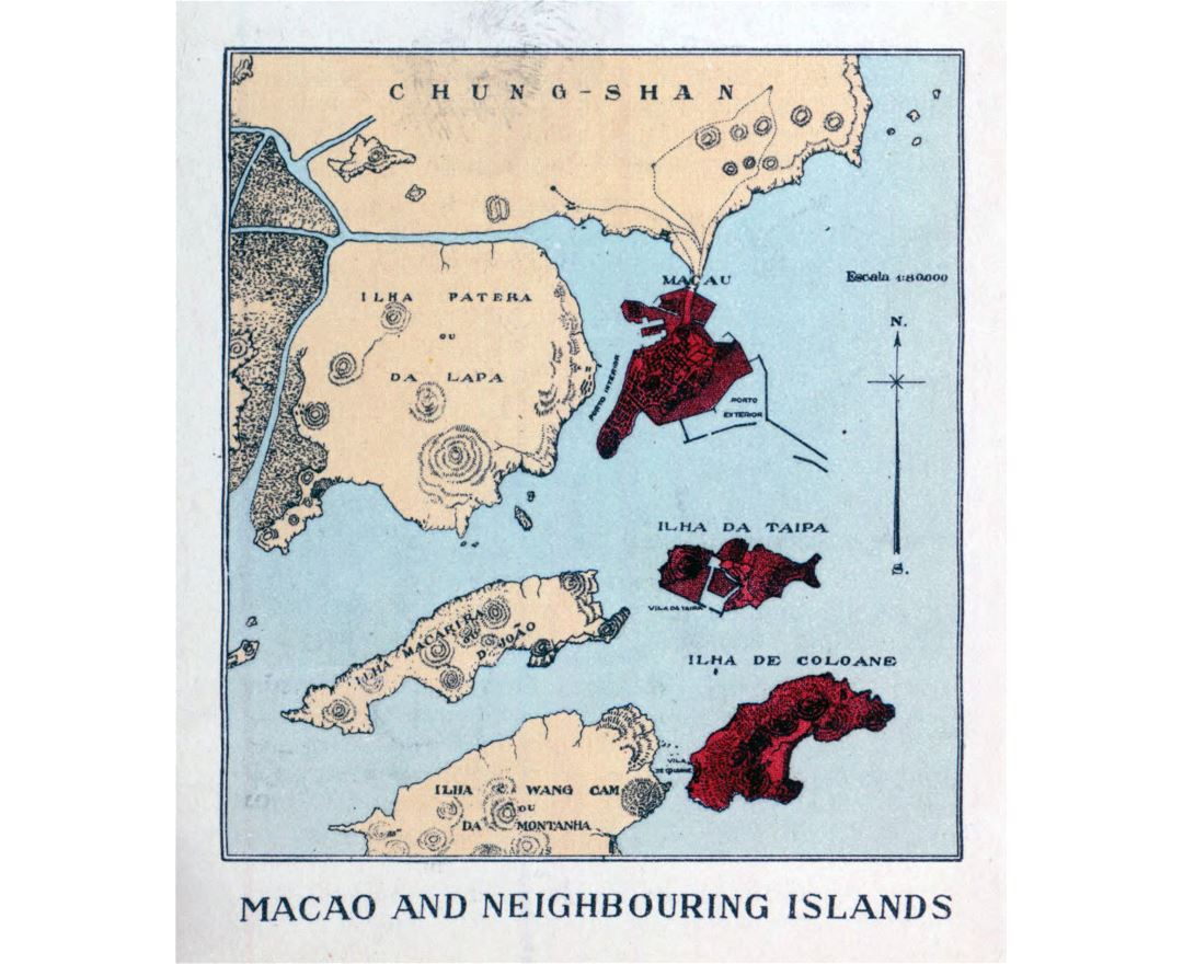 Detailed map of Macau and neighbouring islands