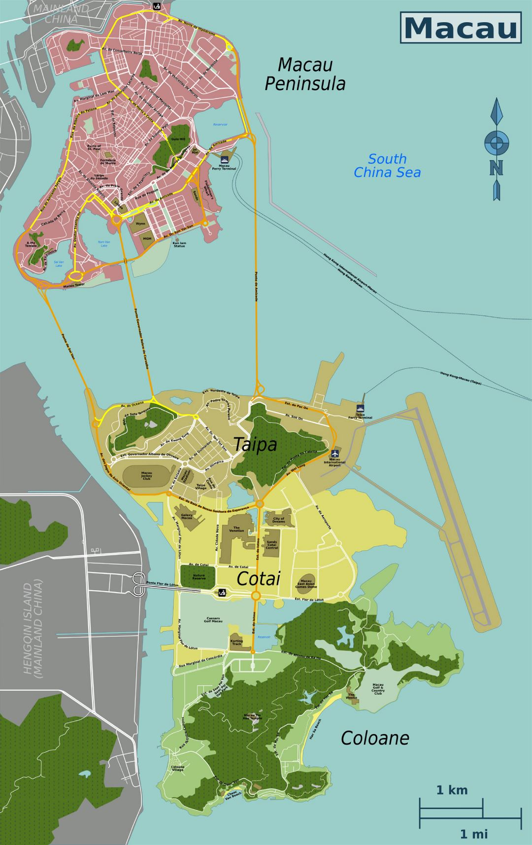 Detailed map of Macau