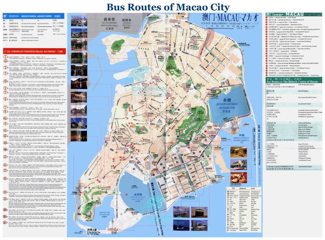 Large detailed bus routes map of Macao city