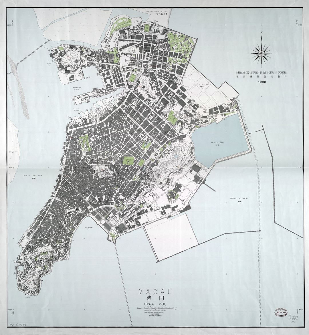 Large detailed general map of Macau - 1990