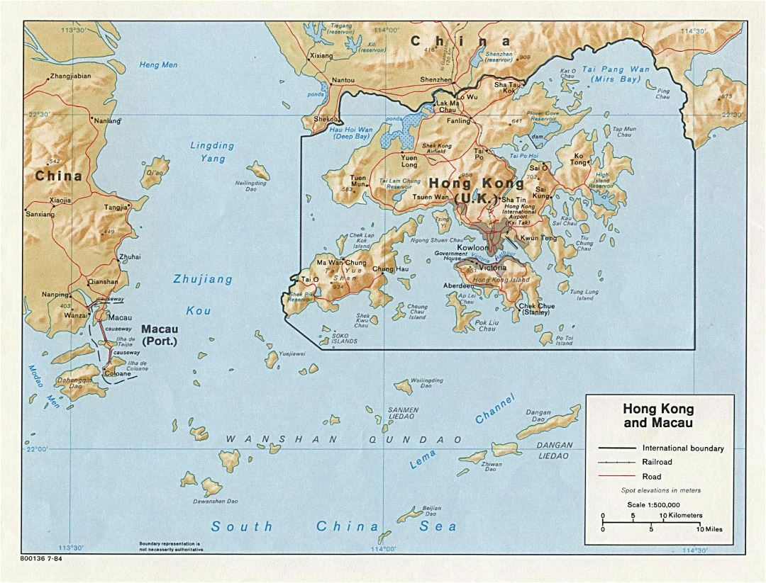 Large detailed political map of Hong Kong and Macau with relief - 1984