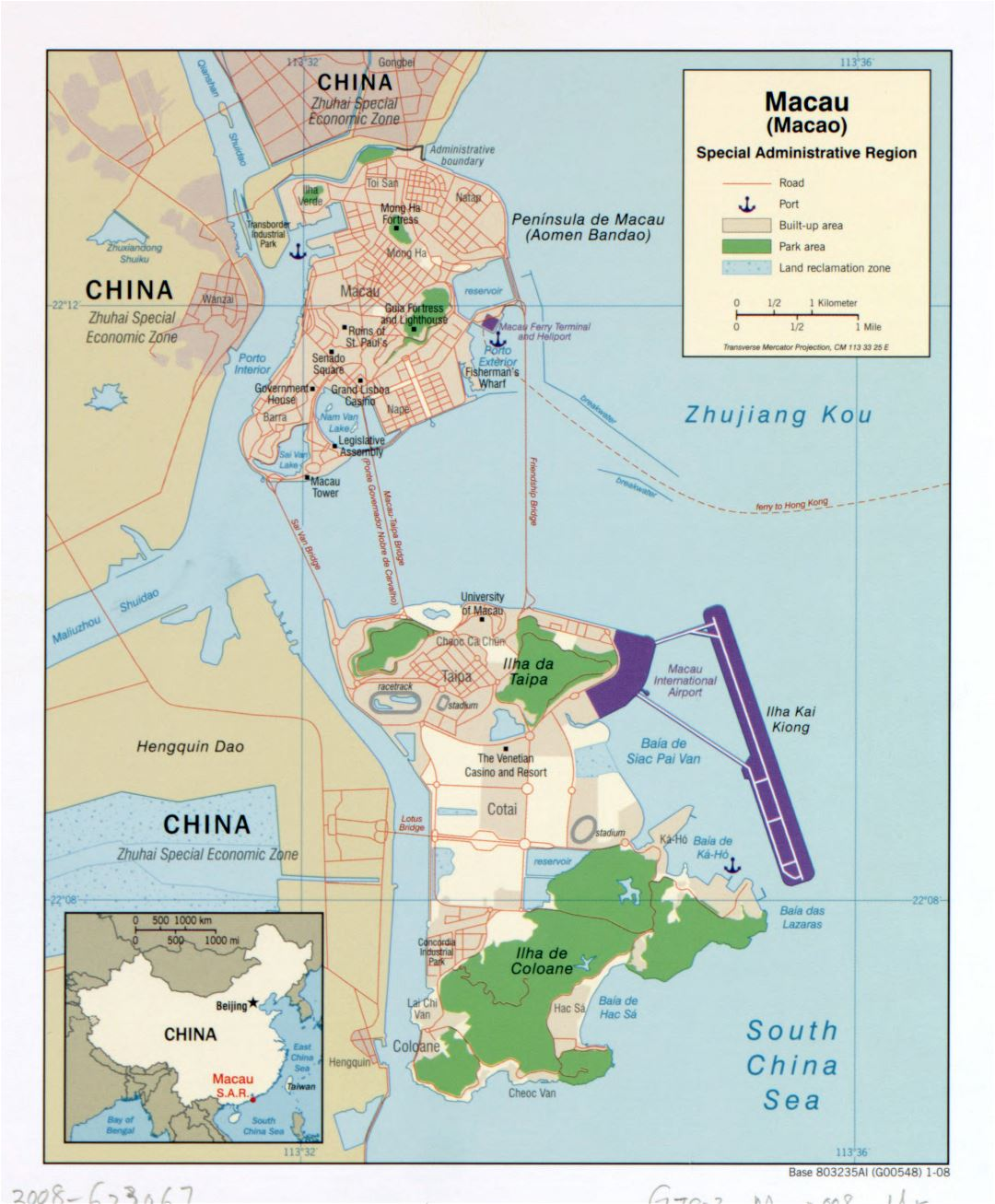 Large detailed political map of Macau with roads, ports and other marks - 2008