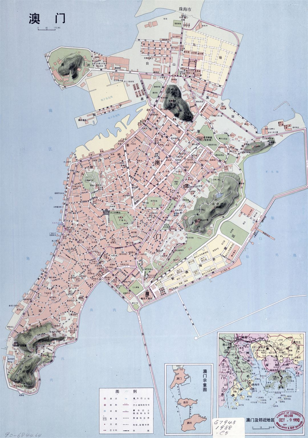 Large detailed road map of Macau in chinese - 1988