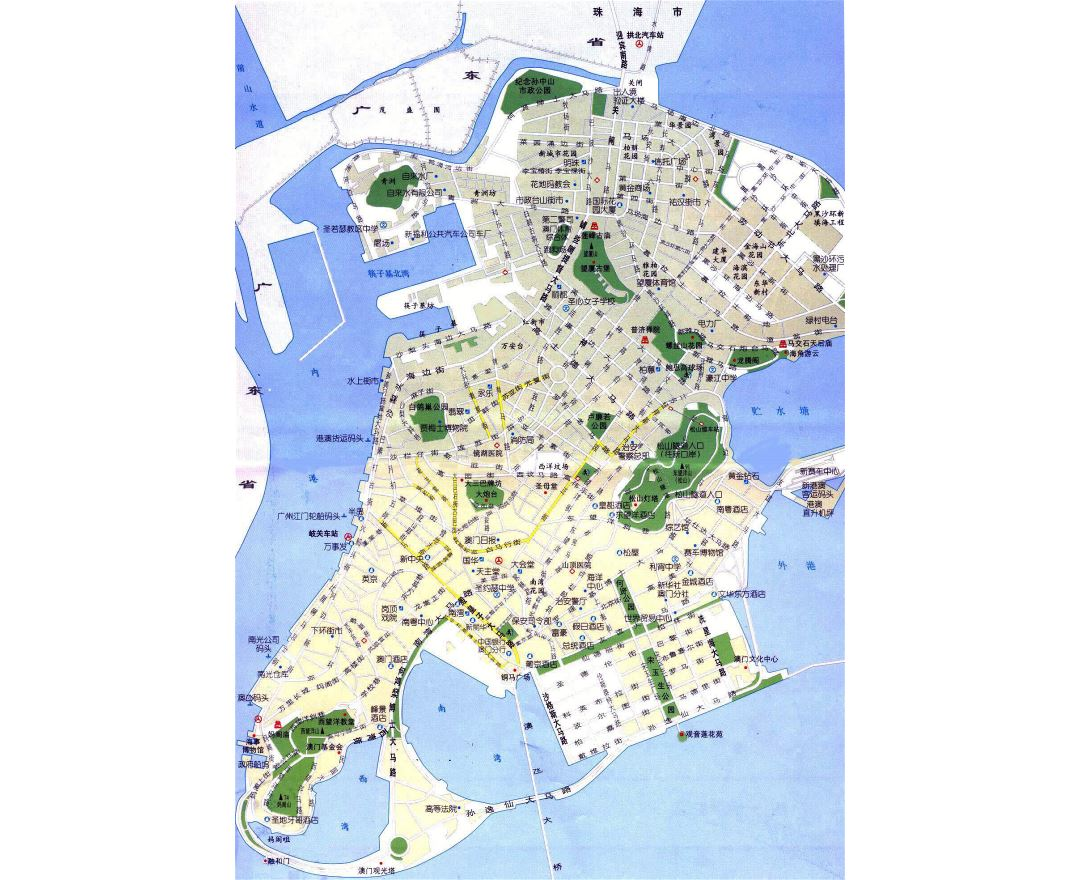 Large detailed road map of Macau in chinese