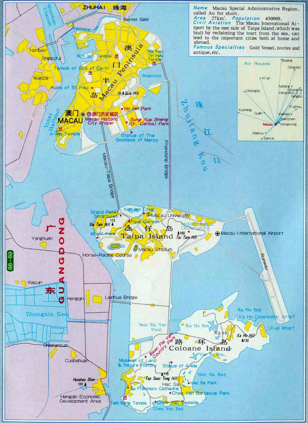 Large detailed road map of Macau