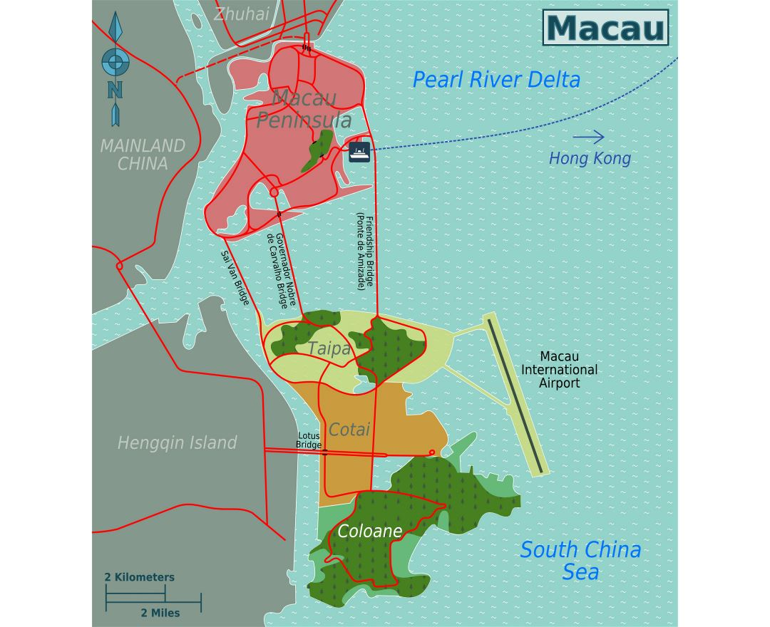 Large districts map of Macau