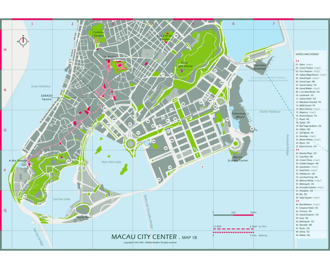 Large hotels and casinos map of central part of Macau