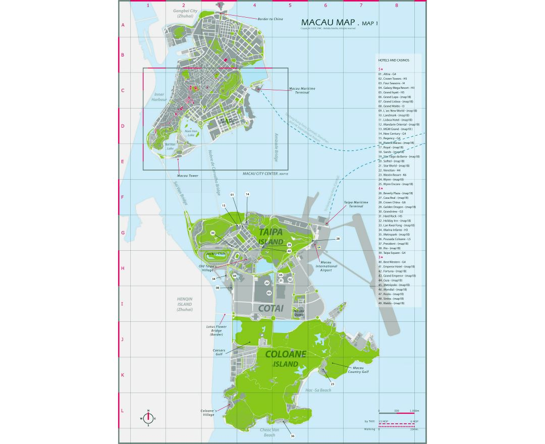 Large hotels and casinos map of Macau