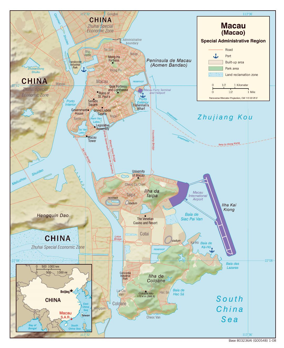 Large political map of Macau with relief, roads, ports and other marks - 2008