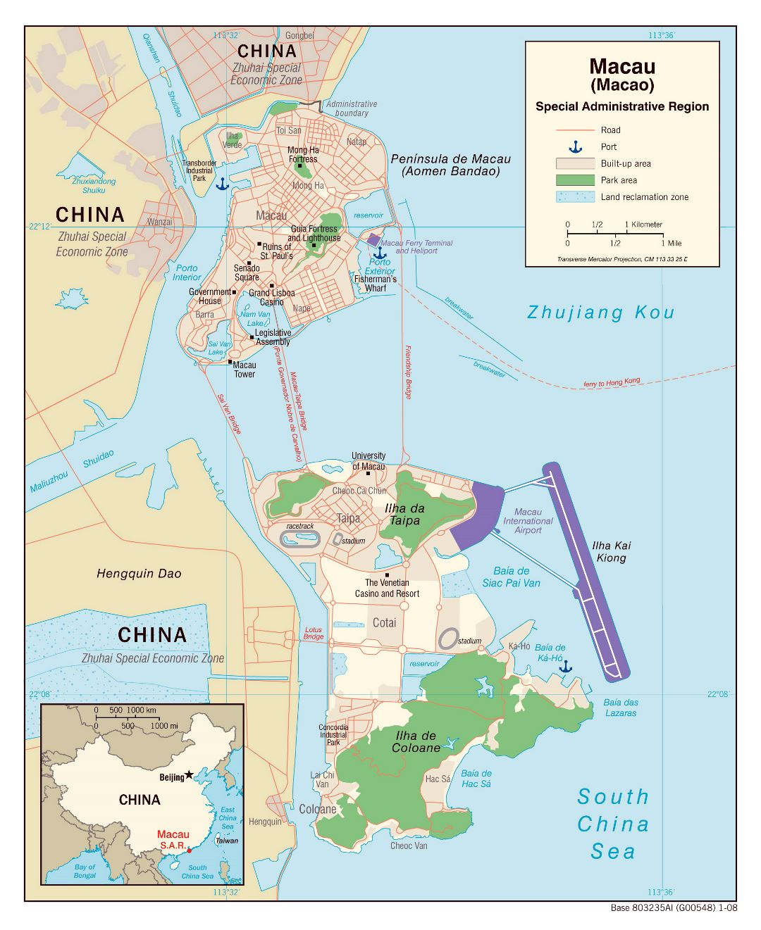 Large political map of Macau with roads, ports and other marks - 2008