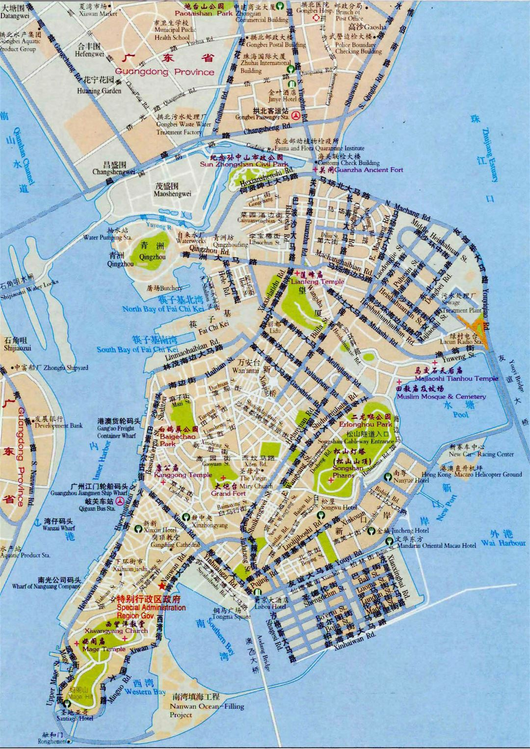 Large road map of Macau in chinese