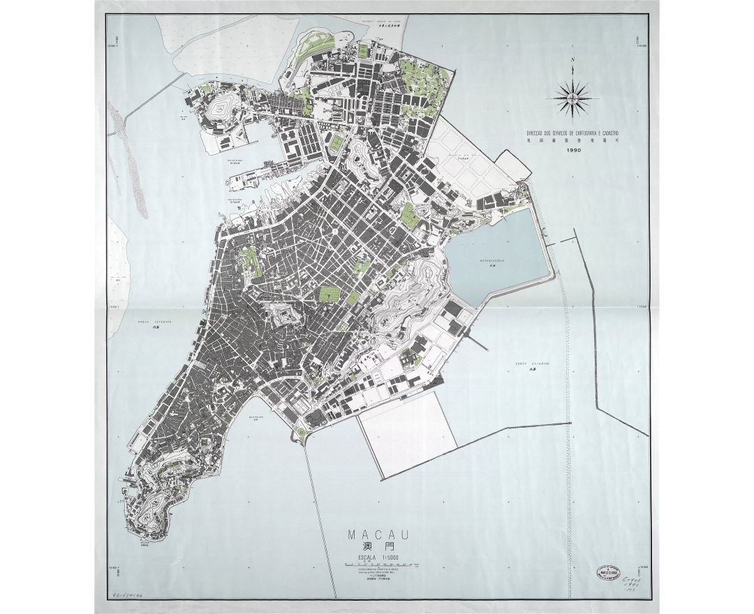 Large scale detailed general map of Macau - 1990